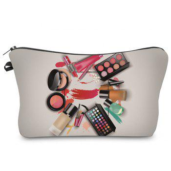 3D Cosmetics Print Makeup Clutch Bag - GRAY GRAY