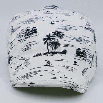 Seaside Element Printing Flat Hat - WHITE