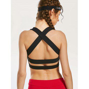 Back Criss Cross Yoga Bra with Mesh Panel - BLACK BLACK