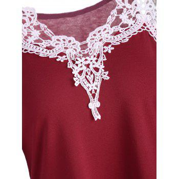 Cold Shoulder Color Block Lace Splicing T-Shirt - RED RED