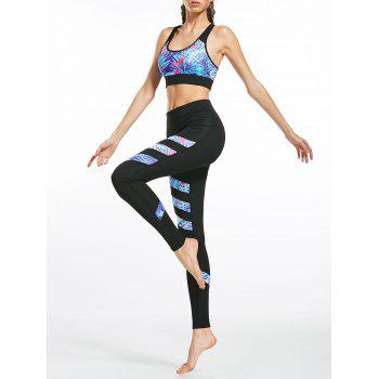 Floral Padded Racerback Bra and Active Leggings - BLACK BLACK