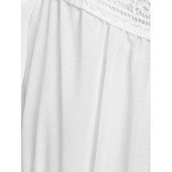 Stylish White Off The Shoulder Spaghetti Strap With Lace Women's Dress - WHITE WHITE