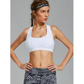 Back Criss Cross Yoga Bra with Mesh Panel - WHITE S