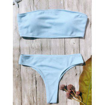 Rib Texture High Leg Bandeau Bikini Set - LIGHT BLUE M