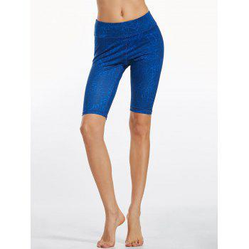 Line Drawing Knee Length Fitness Leggings - BLUE S