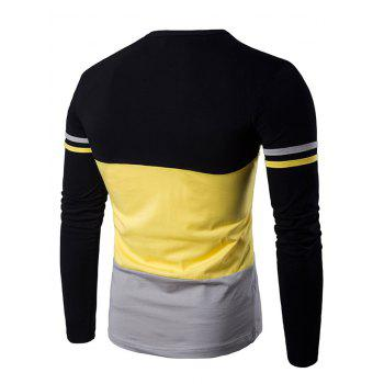 Color Block Long Sleeves Round Neck T-shirt - YELLOW XL