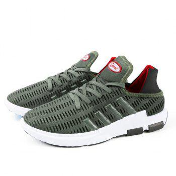 Breathable Lace Up Mesh Athletic Shoes - ARMY GREEN 43