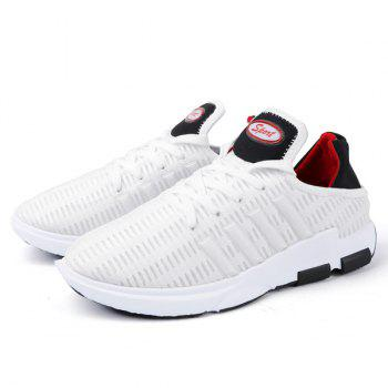 Breathable Lace Up Mesh Athletic Shoes - WHITE 41
