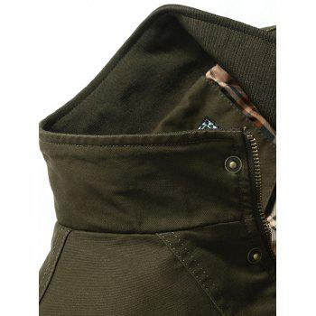 Patch Embellished Zipper Fly Jacket - ARMY GREEN XL