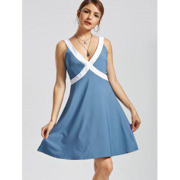 V Neck Sleeveless Fit and Flare Dress - BLUE L