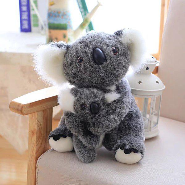 Simulation Toy Koala Mother and Baby Stuffed Animal - LIGHT GRAY