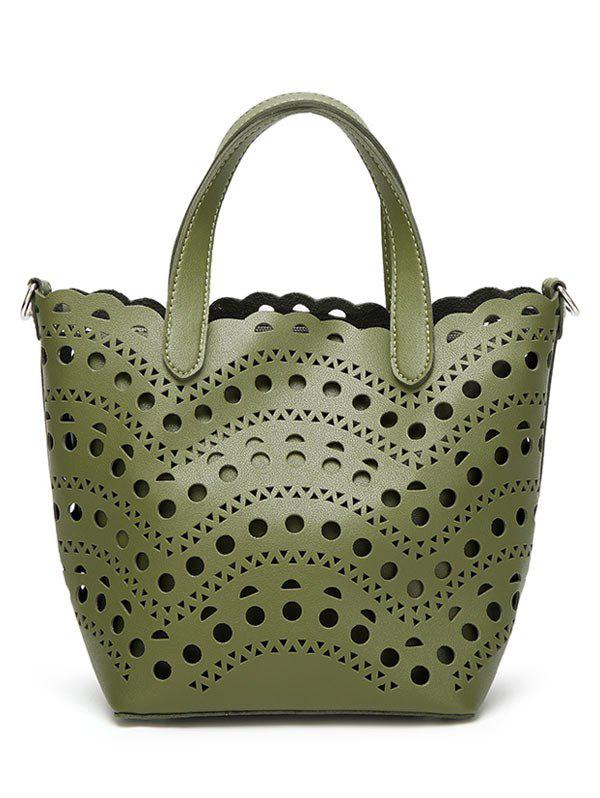 Hollow Out Handbag with Interior Bag - GREEN