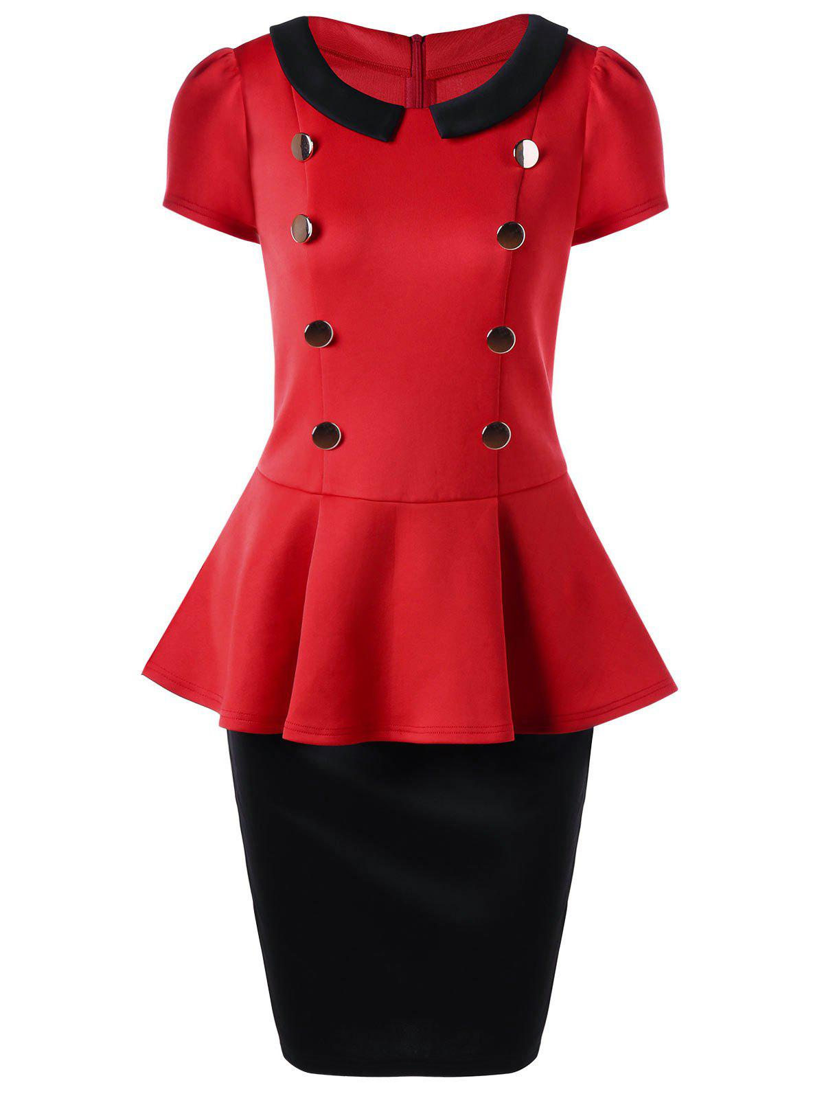 Peplum Top et Tube Suit Suit Midi - Rouge L