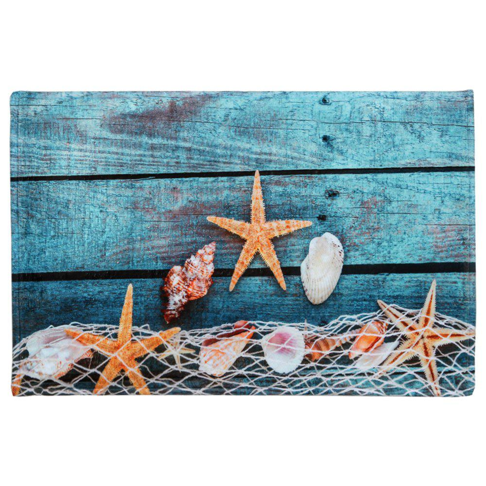 Large Size Starfish Shell Coral Fleece Bath Rug zoobles twobles starfish