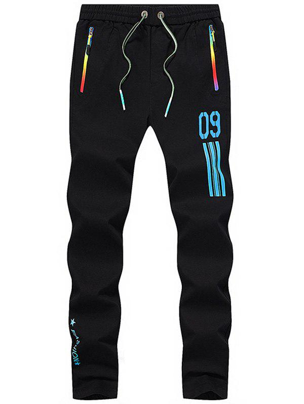 Number Printed Drawstring Sport Pants - BLUE 32