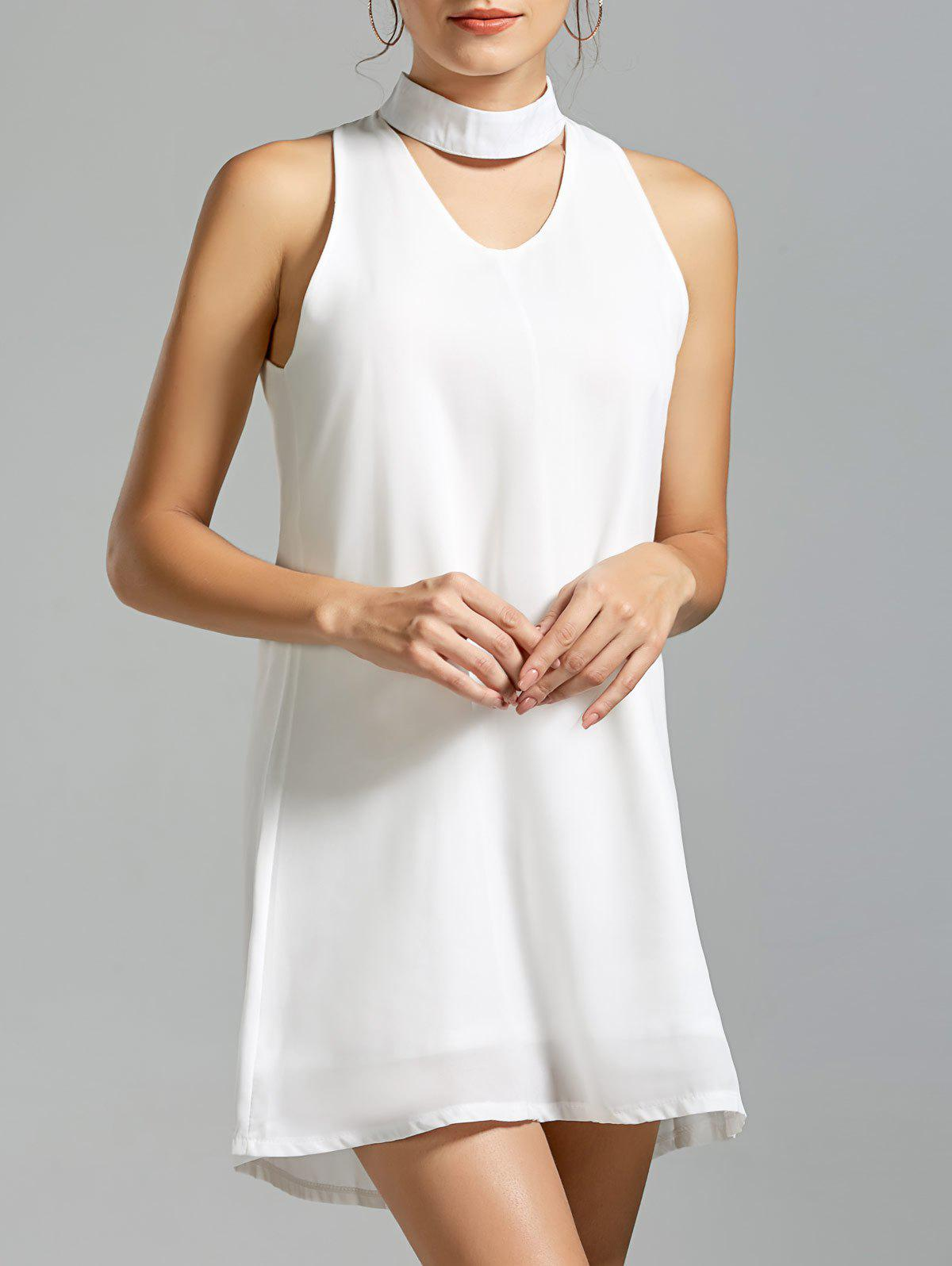 Sleeveless Mini Choker Dress - WHITE S