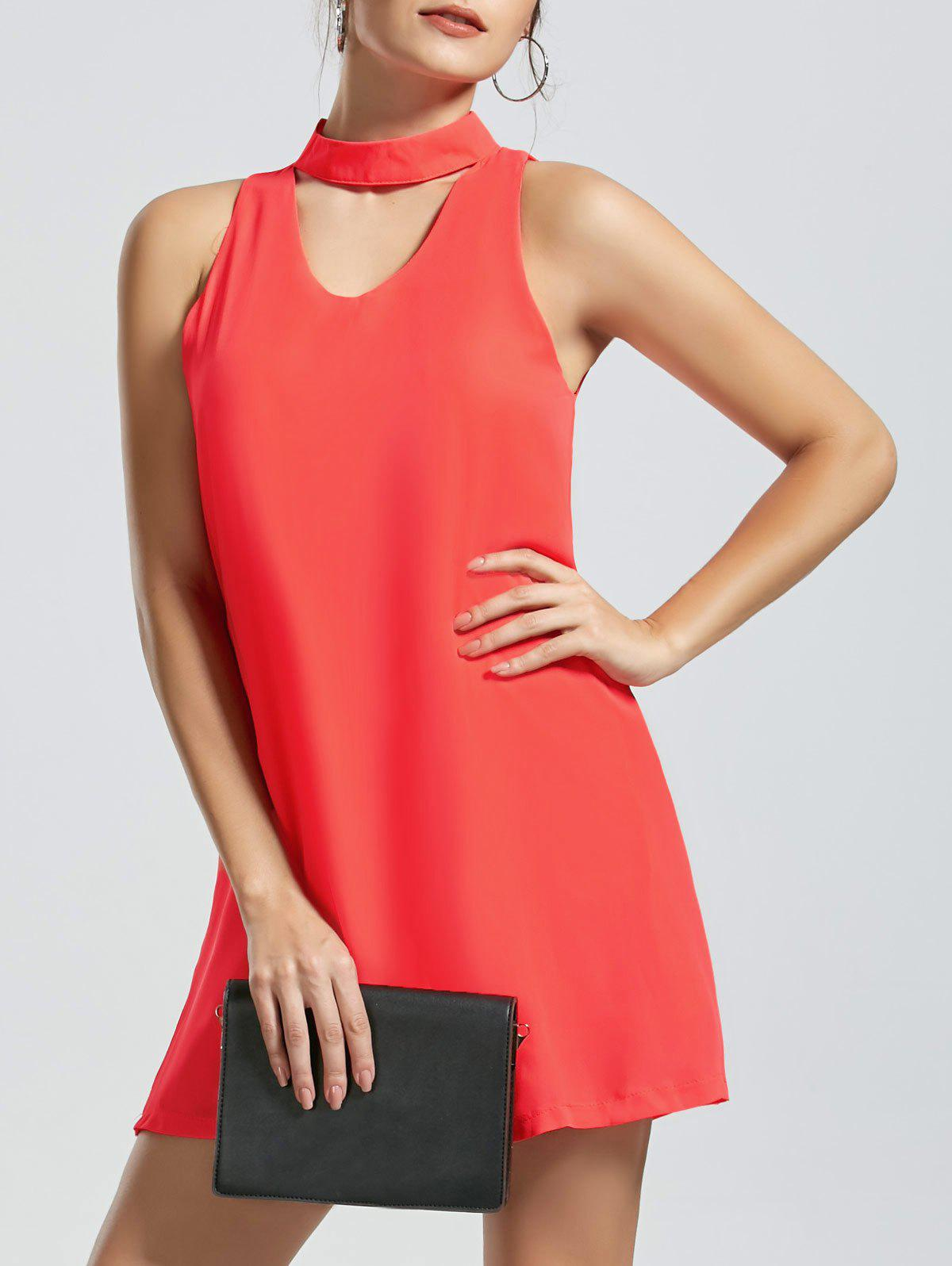 Sleeveless Mini Choker Dress - ORANGE RED L