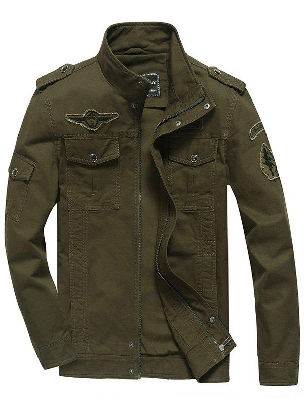 Embroidery Patch Snap Button Design Jacket - ARMY GREEN 3XL