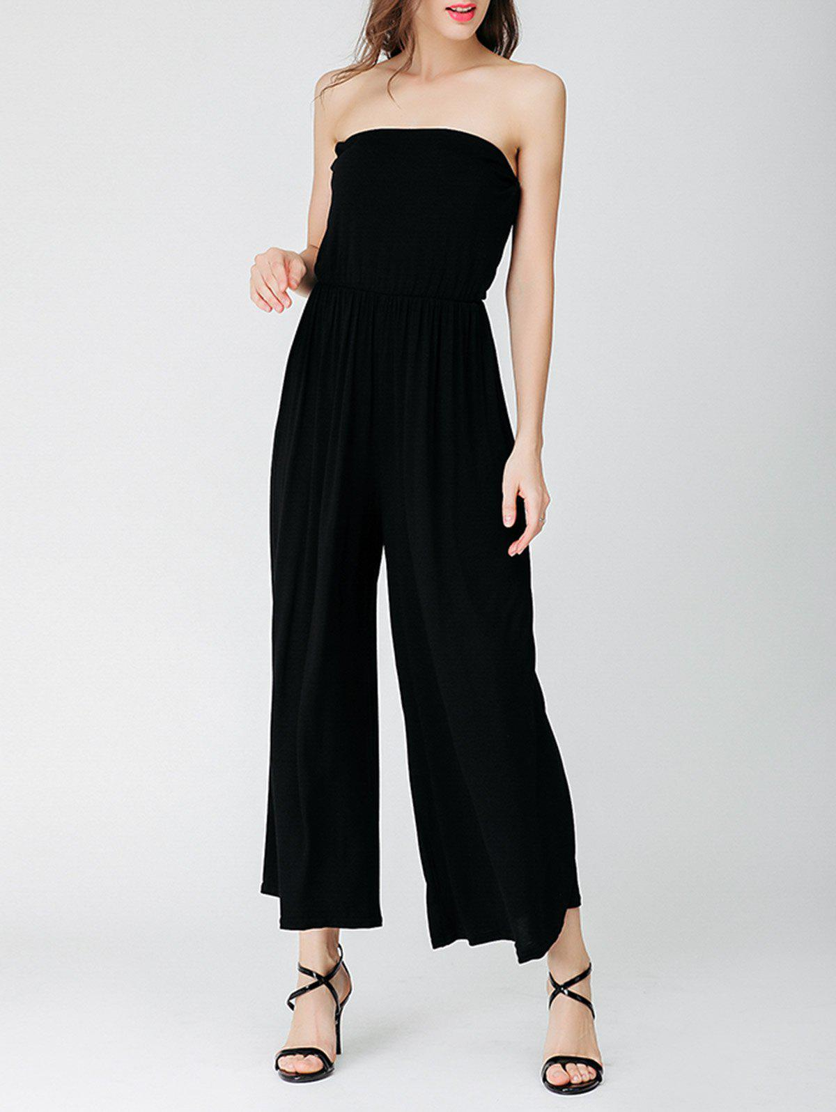 2018 wide leg elastic waist tube jumpsuit black one size in