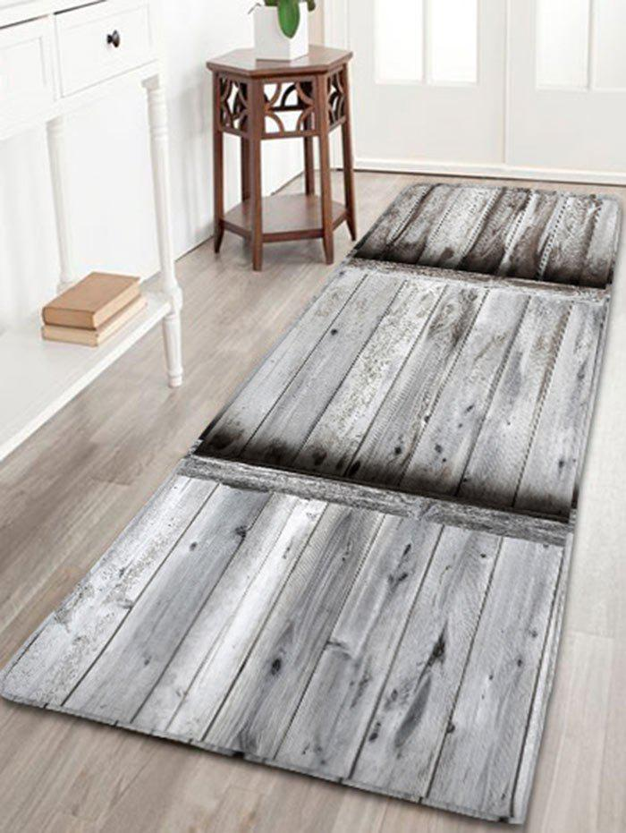 Wood Grain Print Flannel Antislip Area Rug - GRAY W16 INCH * L47 INCH