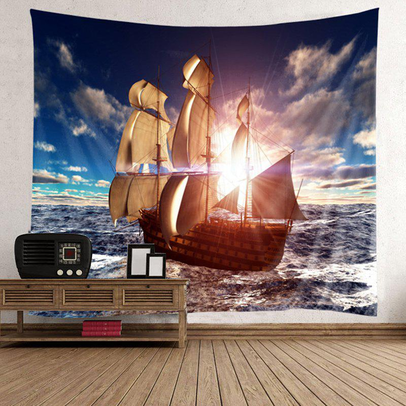 Boat on Sea Sunlight Wall Tapestry - BROWN W59 INCH * L79 INCH