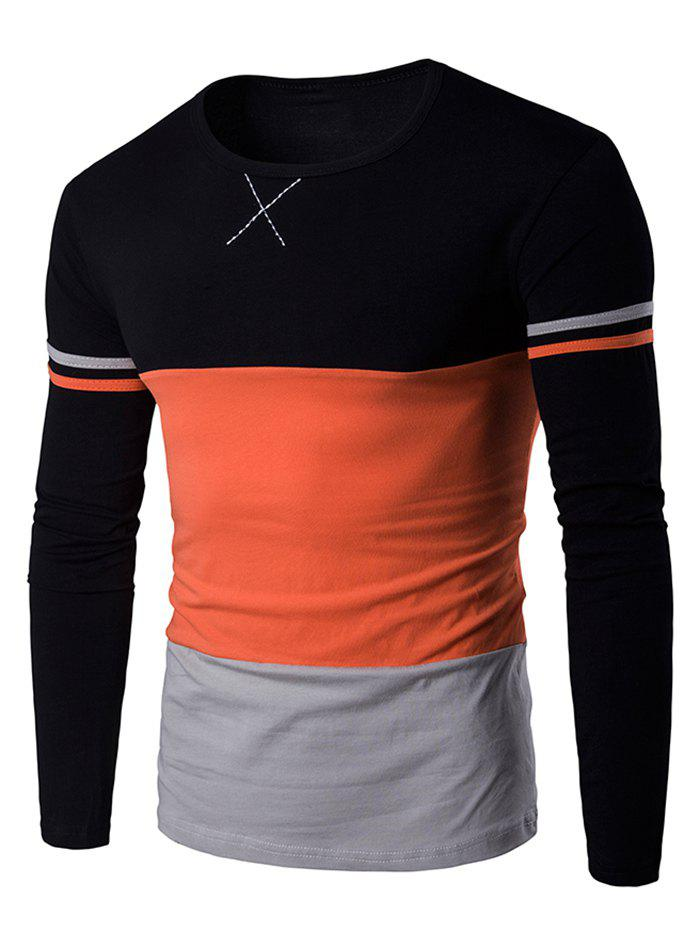 Color Block Long Sleeves Round Neck T-shirt blue stripe stitching round neck long sleeves t shirt