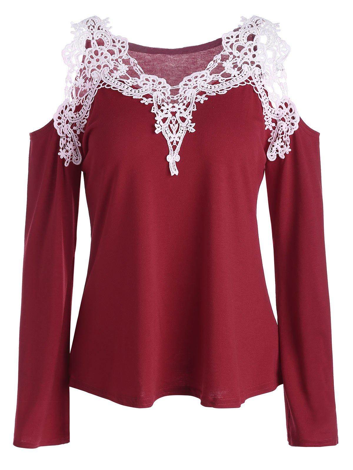 Cold Shoulder Color Block Lace Splicing T-Shirt - RED XL