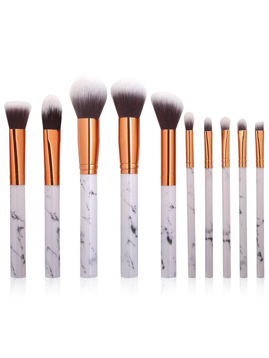 10Pcs Marble Design Handle Makeup Brushes Set