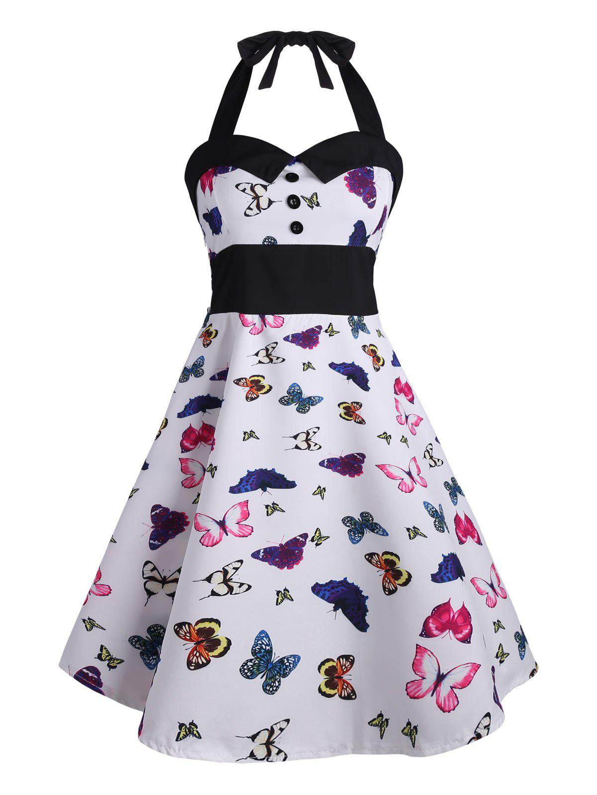 Vintage Halter Butterfly Print Pin Up Dress butterfly print halter tunic dress