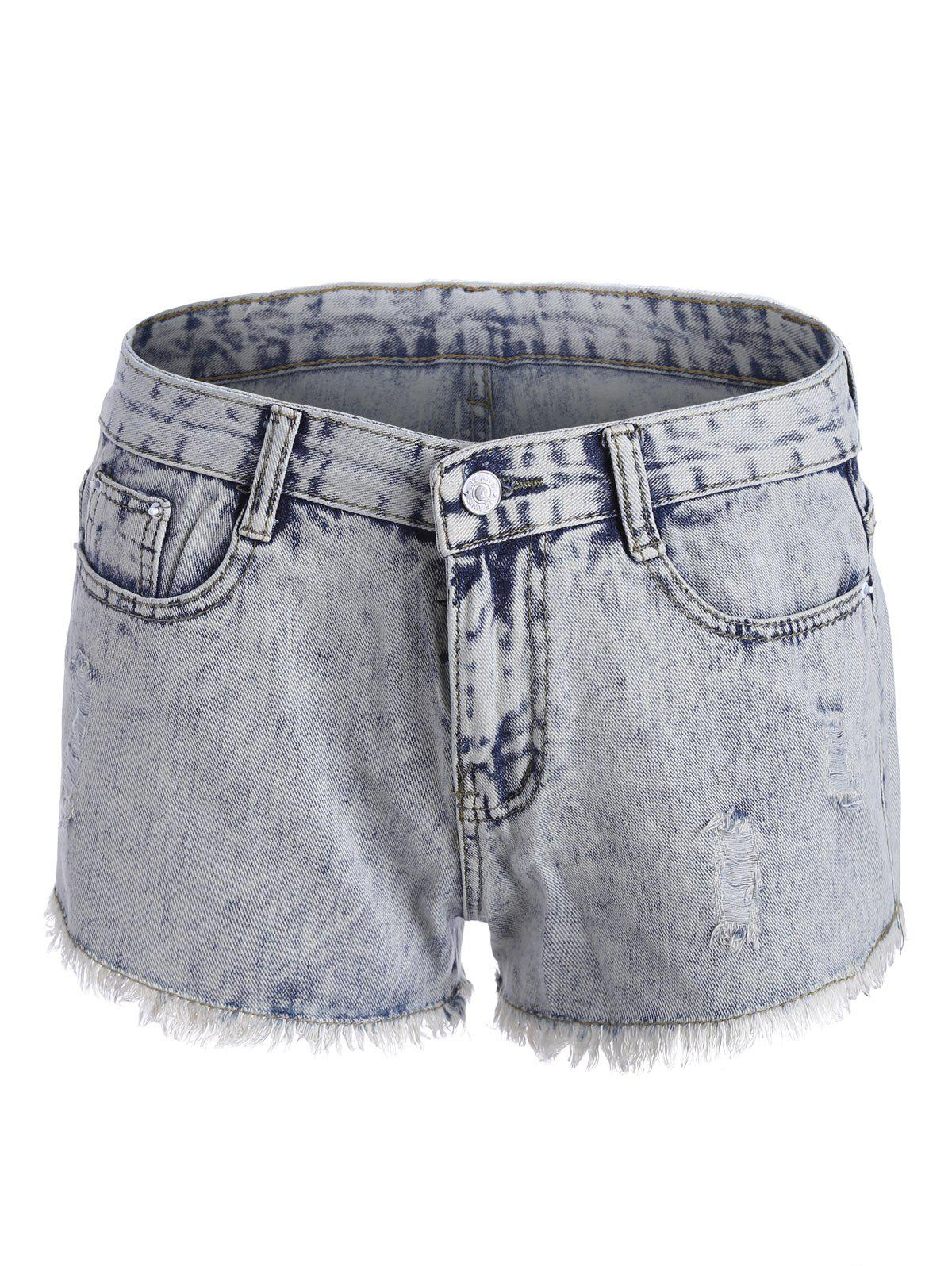 Ripped Curved Hem Denim Shorts - COLORMIX XL