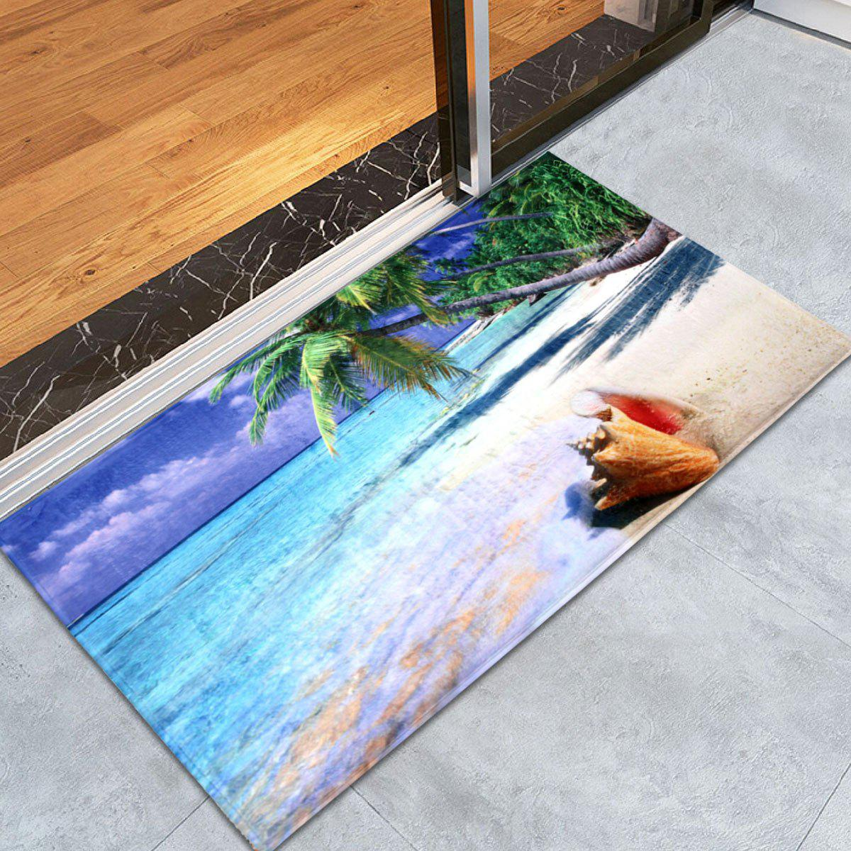Beach Print Coral Fleece Absorbent Area Rug, Colormix