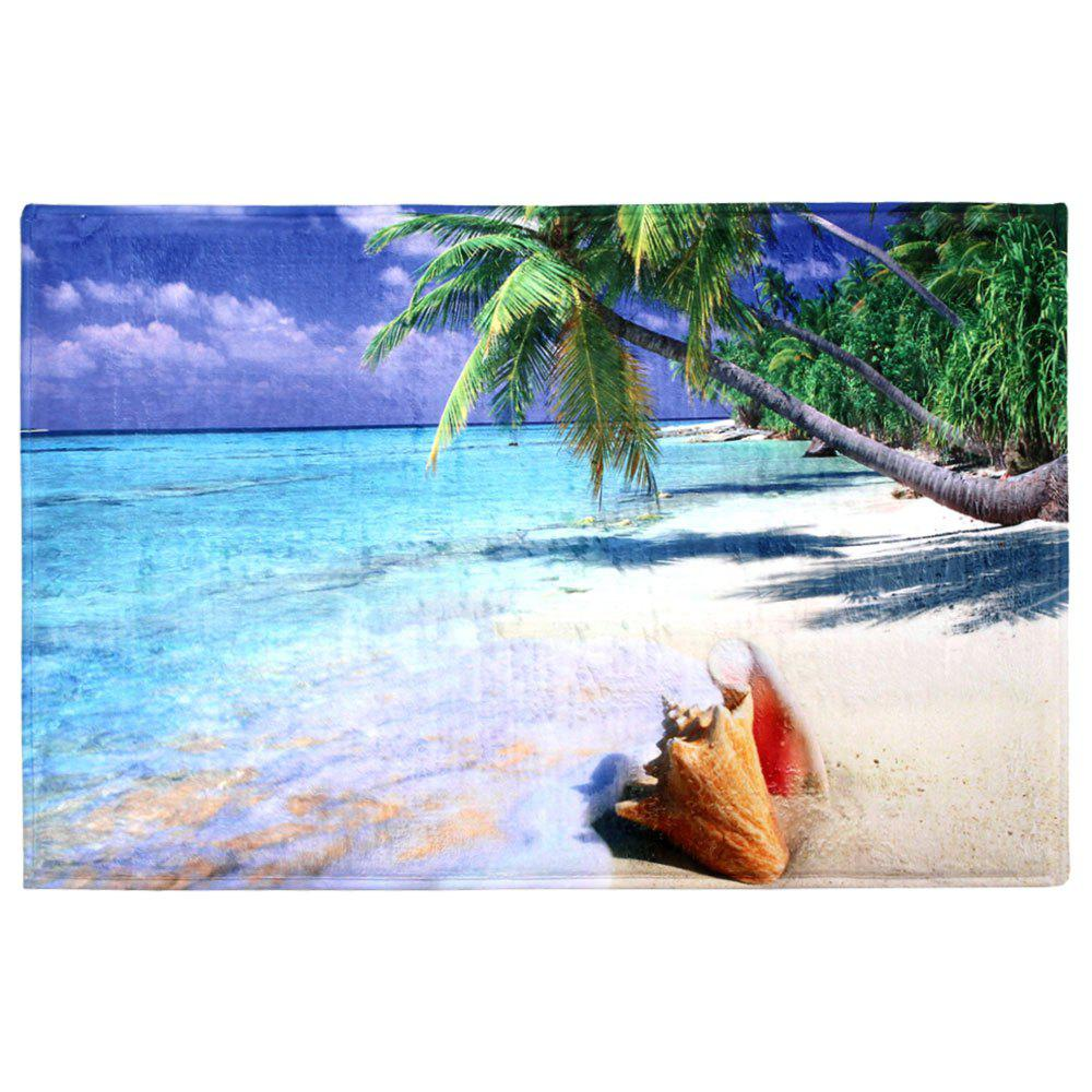 Beach Print Coral Fleece Absorbent Area Rug coral velvet beach heart print bath area rug
