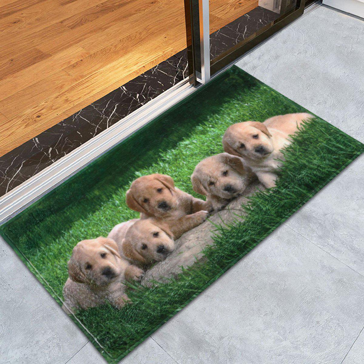 Coral Velvet Extra Long Puppy Pets Bathroom Rug - GREEN W24 INCH * L35.5 INCH