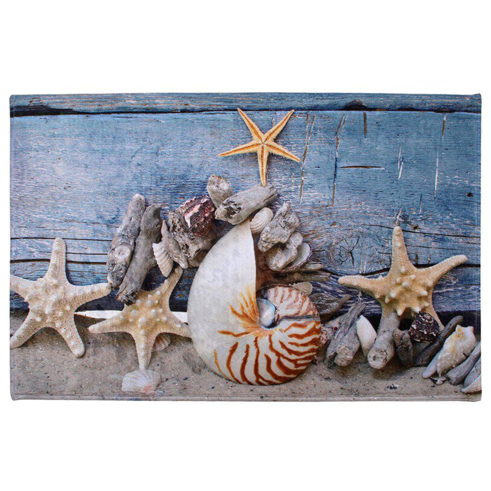 Skidproof Coral Velvet Conch Starfish Bath Rug antiskid starfish conch print bath rug