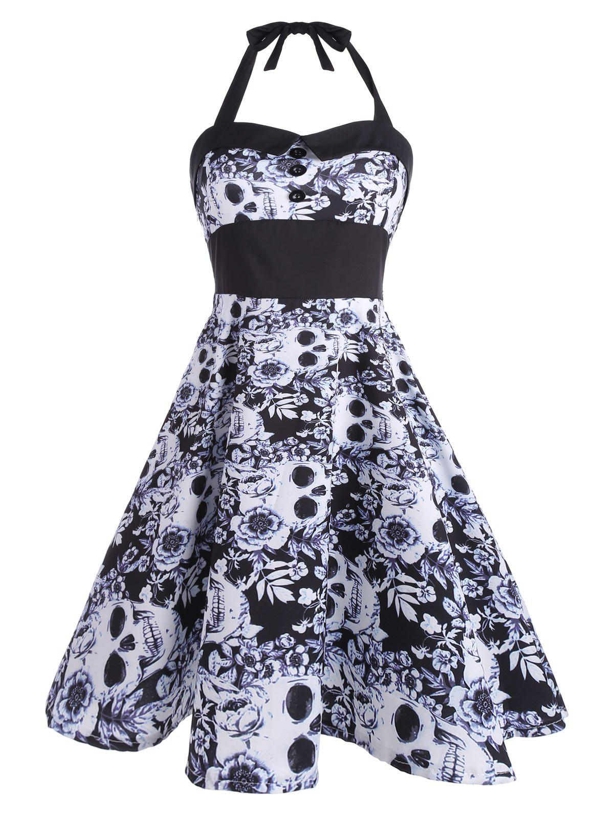 2018 Vintage Floral Skull Print Backless Dress BLACK XL In ...