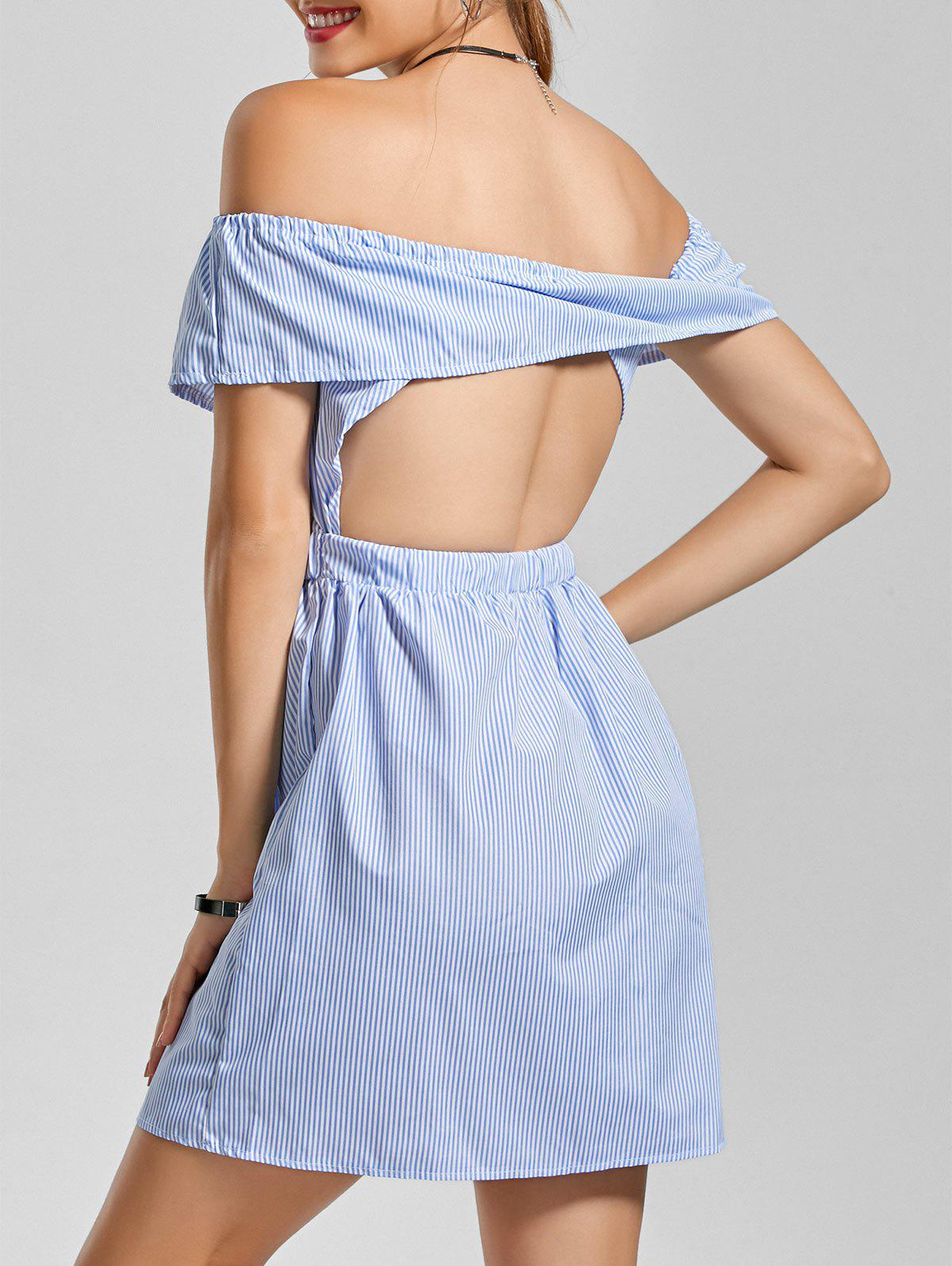 Off The Shoulder Stripe Ruffle Cut Out Dress - Bleu clair S