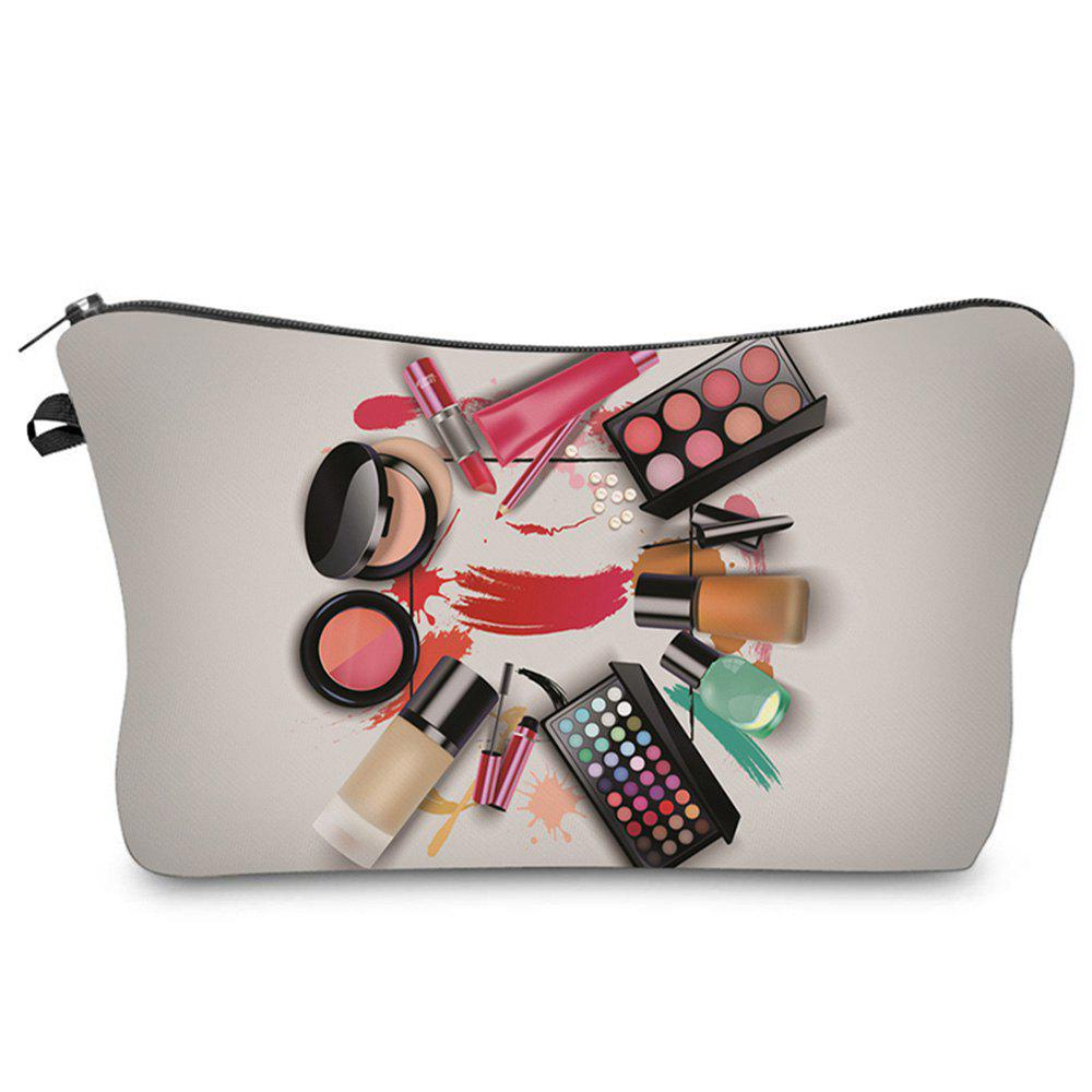 3D Cosmetics Print Makeup Clutch Bag - GRAY
