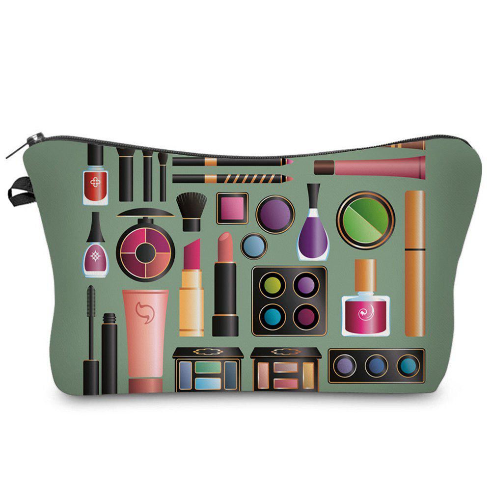 3D Cosmetics Print Makeup Clutch Bag - ARMY GREEN