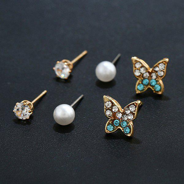 Rhinestone Faux Pearl Butterfly Stud Earring Set rhinestone faux pearl ear cuff and stud earring