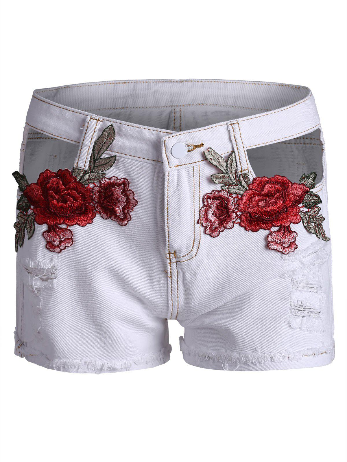 Embroidered Ripped Curved Hem Denim Shorts - WHITE L
