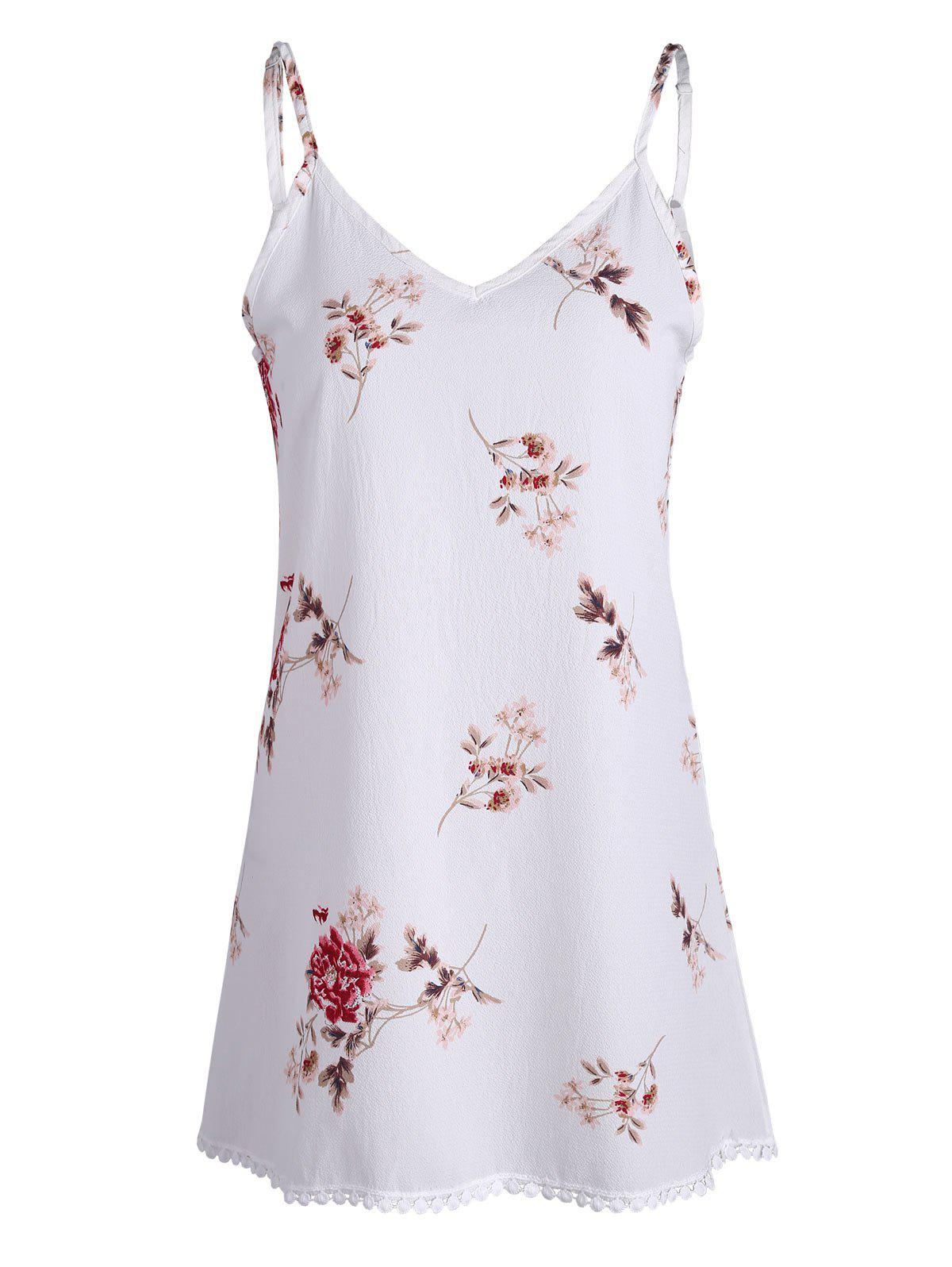 Spaghetti Strap Floral Print Mini Trapeze Dress - WHITE L