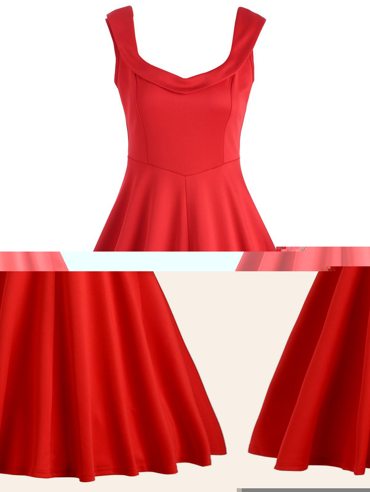 Fit and Flare A Line Work Robe vintage - Rouge M