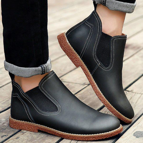 Slip-On Stitching PU Leather Ankle Boots - Black 43 free shipping lowest price ymvY9Q
