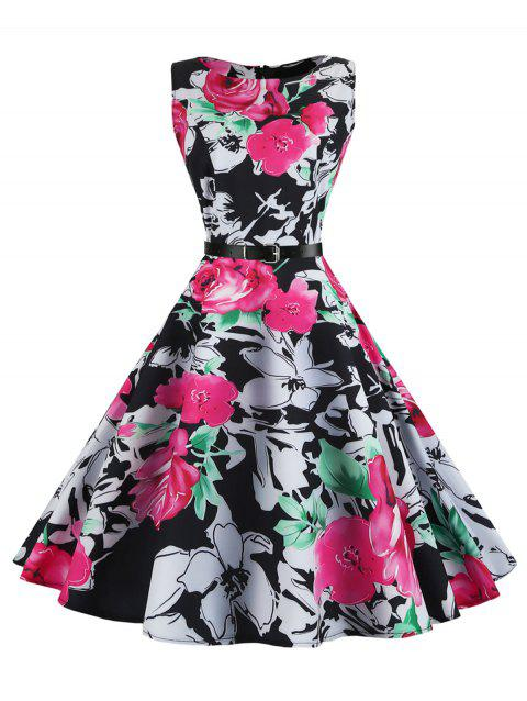 Floral Sleeveless Vintage Dress - WATER RED S