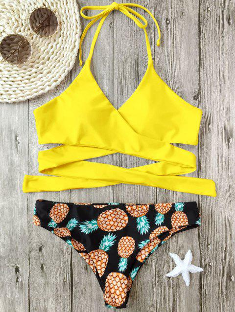 Pineapple Print Wrap Bikini Set - YELLOW M