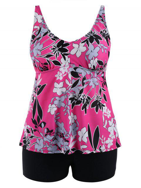 Padded Floral  High Waisted Plus Size Tankini Set - ROSE RED 3XL