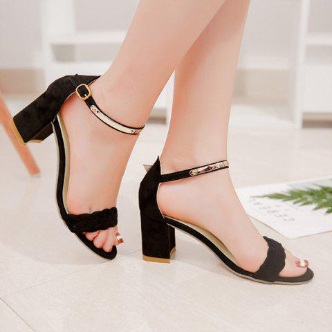 e4d1fd2f1c045 41% OFF] 2019 Woven Ankle Strap Block Heel Sandals In BLACK 38 ...