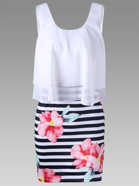 Floral and Striped Tight Popover Dress - WHITE XL