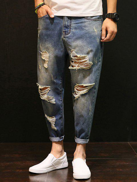 Faded Distressed Low-Slung Crotch Nine Minutes of Jeans - BLUE 40