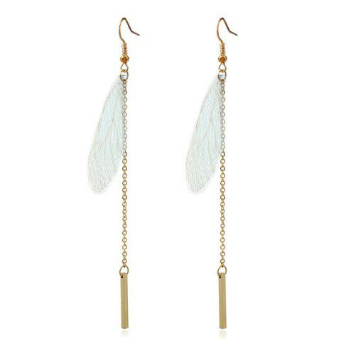 Feather Chain Bar Hook Earrings - GREEN
